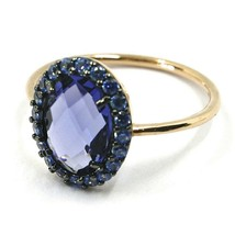 SOLID 18K ROSE GOLD FLOWER RING, CUSHION OVAL BLUE CRYSTAL CUBIC ZIRCONIA FRAME image 2