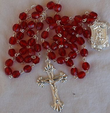 Red l glass beads rosary