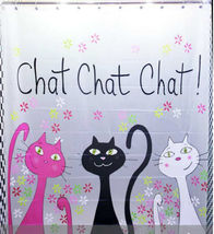 3 Cat Chat Chat Chat Cute Design 180 x 200 cm Bathroom Shower Use SHOWER... - $29.99