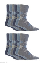 12 Pairs Mens Gentle Grip Socks Size 6-11 Uk, 39-45 Eur MGG38 Blue Argyle - $22.80 CAD