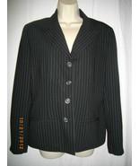 Halston 8 Medium M Black Pin Stripe Polyester Single Breasted Jacket Blazer - $38.12