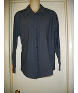 Kenneth Cole NY 16-1/2 34 35 Small Classic Dark Gray Stripe Button Front... - $18.69