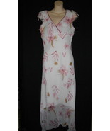 Jonathan Martin Small 5 White Pink Overlay Polyester Floral Short Sleeve... - $27.93