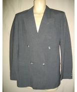 Kasper Gray 40R Pin Stripe Blazer Double Breasted Jacket 4 Buttons Sport... - $46.44