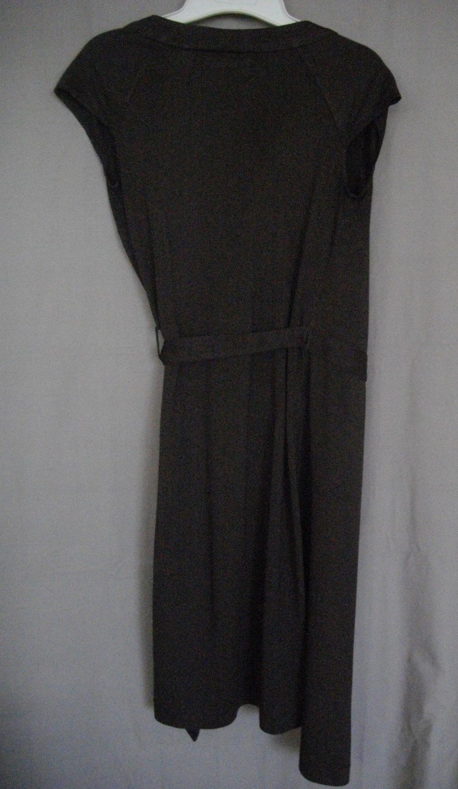 Miss Sixty Small Brown V Neck Casual Short Sleeve Belted Viscosa Wrap Tie Dress