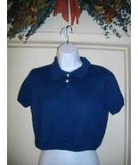 Banana Republic Medium M Navy Blue Short Sleeve Pullover Cotton Cropped ... - $24.30