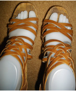 Aldo Cognac 6.5 7 Strappy Ankle Closed Back High Heels Cork Wedges Brown... - $52.00