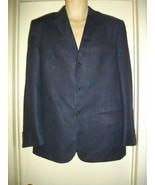 Valentino Italy 50 R Large USA 40 R Navy Blue Wool Single Breasted Jacke... - $75.43