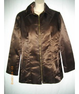 Bisou Bisou Small S Dark Brown Nylon Zipper Jacket Long Sleeve Blazer Coat - $33.35