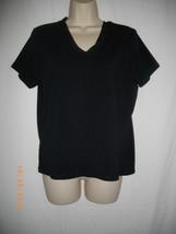 Liz Claiborne Large L Black Cotton Spandex Pullover V Neckline T shirt Top - $28.04