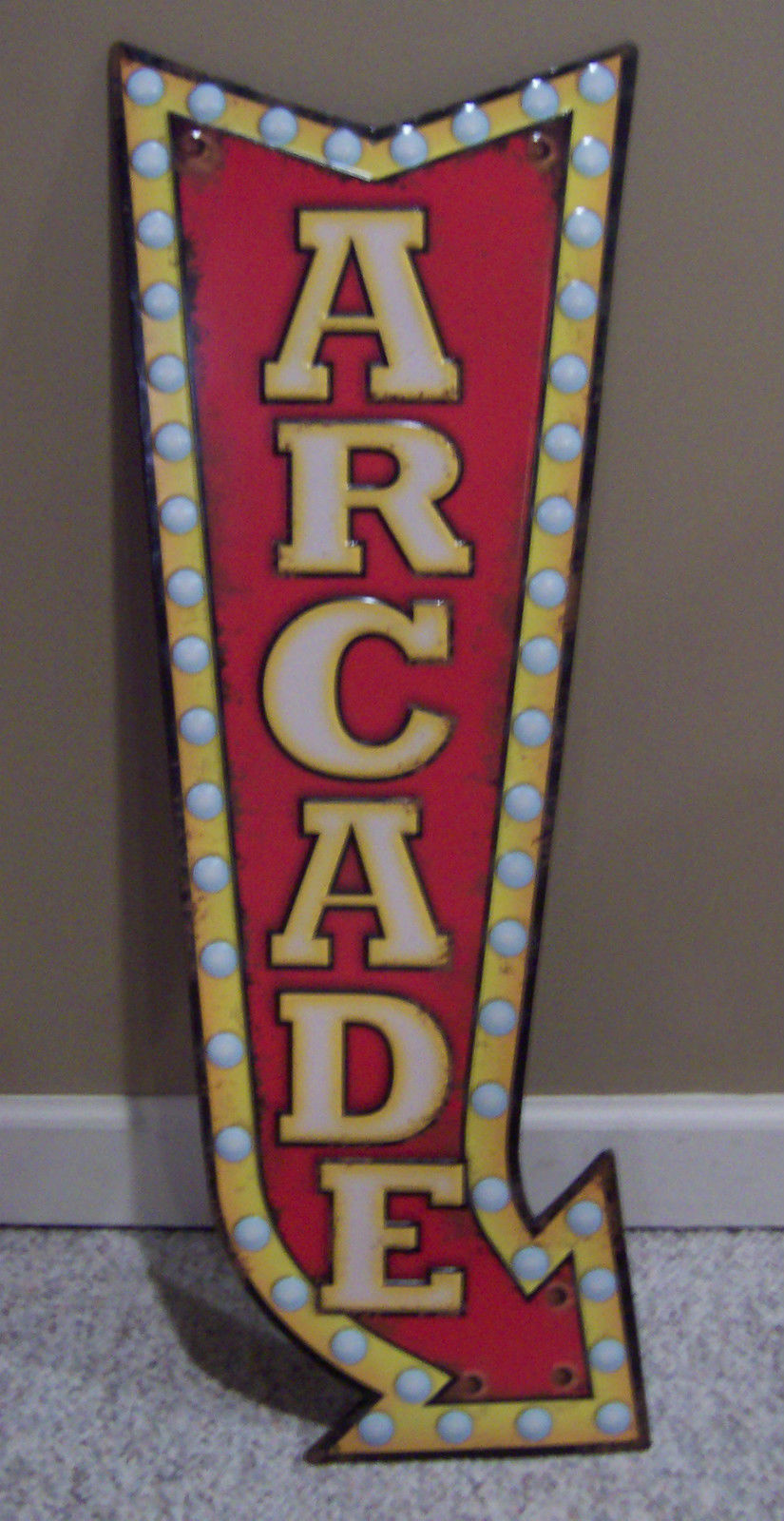 Arcade arrow metal raised letters panel embossed sign game for Raised metal letters