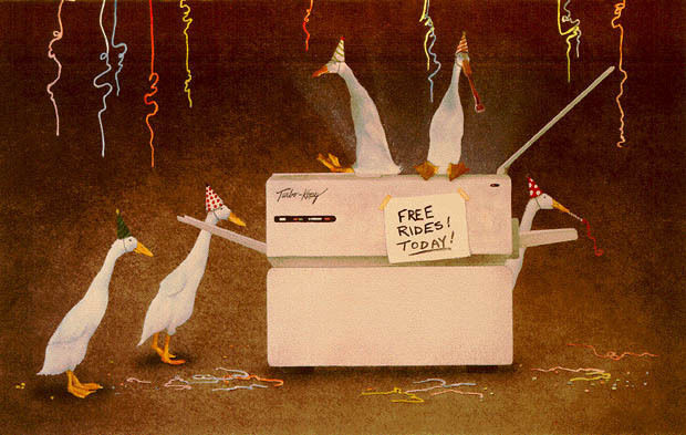 Will Bullas Friday after Five geese sitting on a copy machine with party hats
