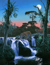 Rod Frederick Tropic Moon Litho S/N Leopard Croosing River with Tropical... - $149.99