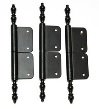 Set of 3 Double Hinge Black Metal Cabinet Hinges Vintage - $7.43