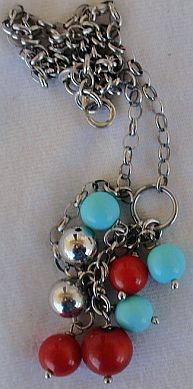 Turquoise red and silver necklace