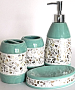 Mosaic Tile Bath Accessory Collection Set Bed Bathroom Accessories Home ... - $59.99