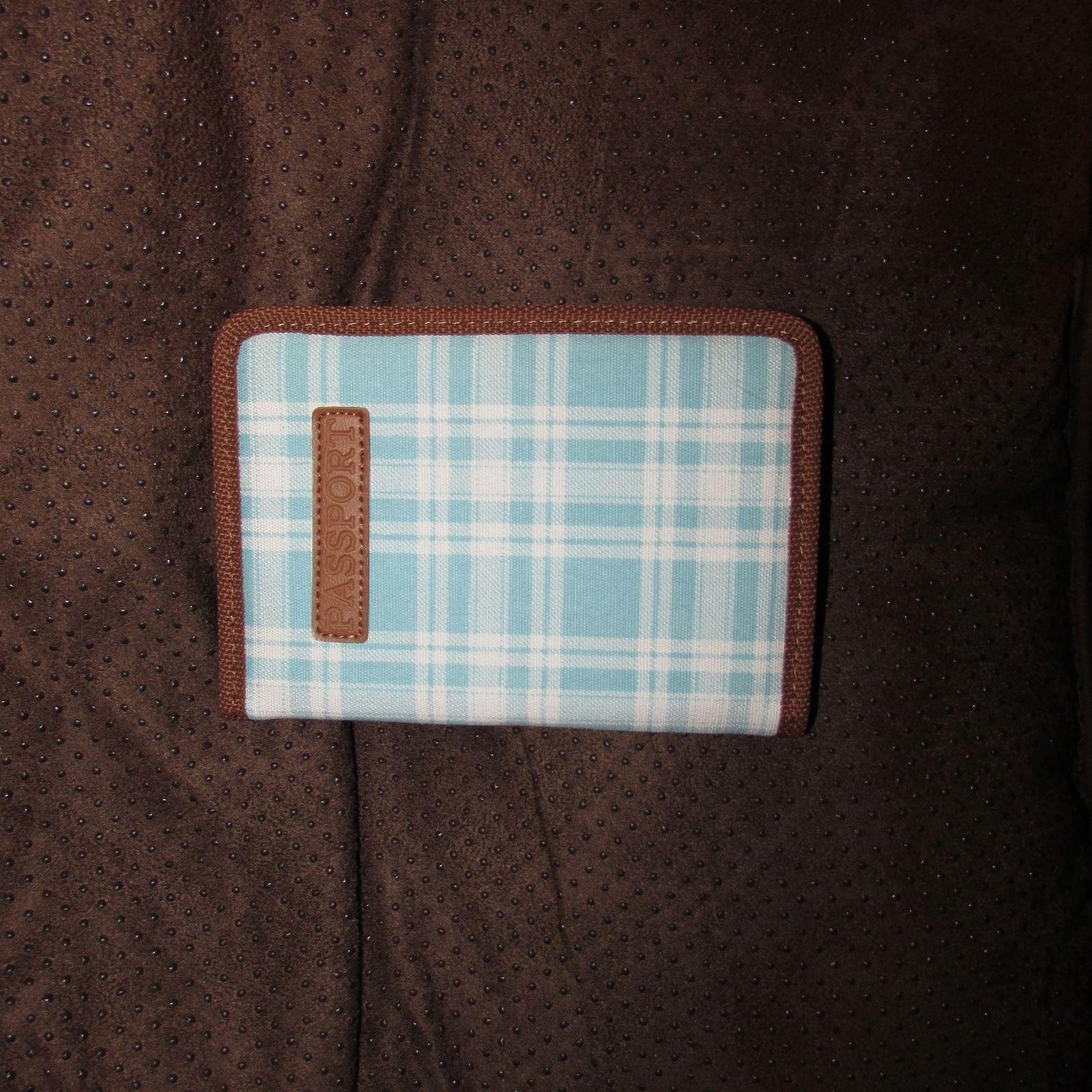Vintage Blue & White Fabric Plaid Print Passport Case