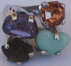 Quartz and purple crystals ring - $64.00