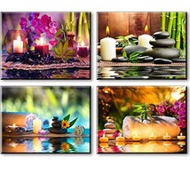 Zen Canvas Wall Art, Spa Treatment Picture with Bamboo Stone Paintings Waterproo