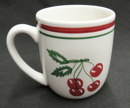 Tag Vintage Cherry Pattern Mug Red and Green Bands Cherries on Stems Leaves image 2