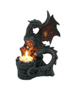 PTC 6.75 Inch Perching Dragon Hand Painted Resin Candle Holder, Black - $27.71