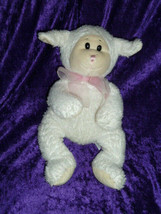 WISHPETS LAUREN LAMB plush stuffed animal white bean bag pink organza bo... - $18.80