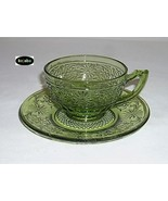 Daisy Green Cup and Saucer Indiana Glass - $4.95