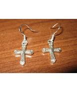 Tibetan Silver Pierced Earrings Cross Design Beautiful & New #D282 - $8.99