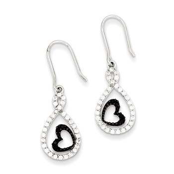 Primary image for Lex & Lu Sterling Silver Clear CZ Twisted Teardrop Black Heart Earrings