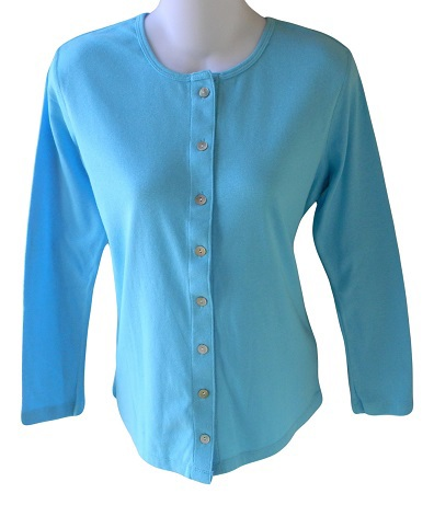 Organic Beach Size S Womens Tropical Blue Organic Cotton Button Front Cardigan