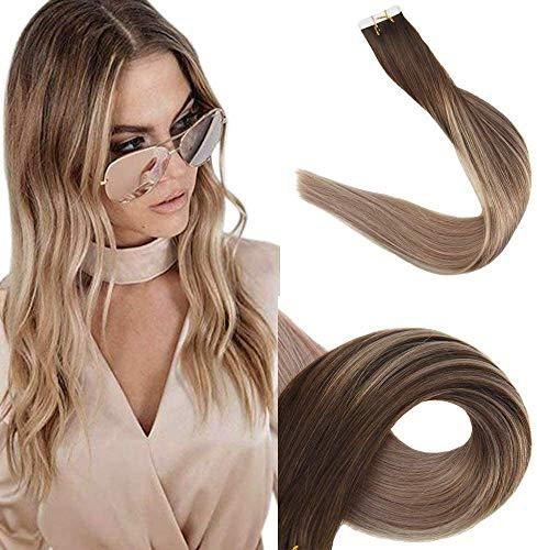 Easyouth 14inch Seamless Skin Weft Glue in Hair 40g 20pcs Color 4 Medium Brown F