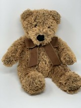 "FAO Toys R Us Brown Shaggy Plush Teddy Bear with Brown Ribbon 18"" 2011 Toy - $13.45"