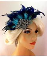 Bridal Fascinator, Rhinestone Hair clip, Navy Feather 1920s Flapper Head... - $69.00