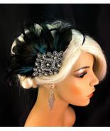 Bridal Fascinator, Black Feather Fascinator, 1920s Flapper Headpiece - $69.00