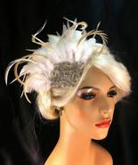 Bridal Fascinator, Ivory Feather Fascinator, 1920s Flapper Headpiece  - $69.00