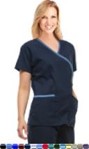 Medical Nurse Fashion Scrub Top - Mock Wrap Scrubs - 3XL - Purple w/ Black Trim. - $8.99