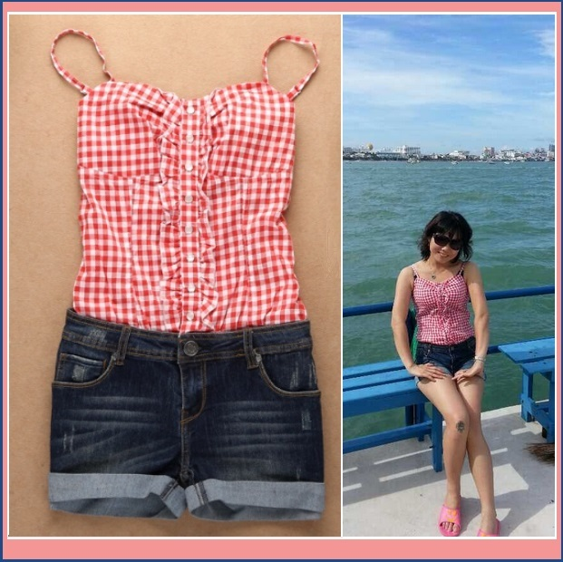 Summer Sleeveless Checkered Top and Denim Jeans Shorts Jumpsuit in Red or Blue