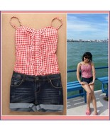 Summer Sleeveless Checkered Top and Denim Jeans Shorts Jumpsuit in Red o... - $44.95