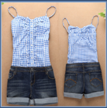 Summer Sleeveless Checkered Top and Denim Jeans Shorts Jumpsuit in Red or Blue image 2