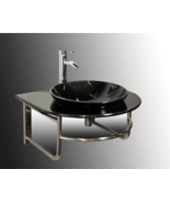Contemporary Black Glass Vessel Sink - $475.56