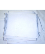White,Cotton Fabric with Light Blue Edging Quilting, Crafting, Sewing - $9.95