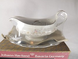 HAVILAND NEW IN BOX FLORAL SPLENDOR GRAVY BOAT WITH TRAY WHITE WITH FLOWERS - $39.99