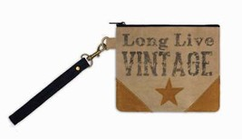 Long Live Vintage Canvas Wristlet Pouch Stencil/Stitched on Star Lined &... - $13.95