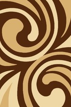 PALACE Hand Carved 3D Modern Contemporary Abstract 5X8 5x7 Rug 5012 Brown Beige - $129.00