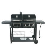 Gas Grill Fuel Charcoal Dual Combo Barbecue Black Stainless BBQ Outdoor ... - £230.05 GBP