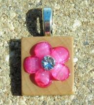 Scrabble Tile Wood Pendant Jewelry Handcrafted Pink Flower Rhinestone Ce... - $3.00