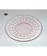 Block Optic Pink Plate 6 in. Sherbet Hocking - $3.25