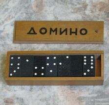 Vintage Bulgarian Dominoe 28 Pieces Set Wooden Box Signed Cyrillic Letters - $25.69