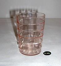 Block Optic Pink Tumbler 3 3/4 inch 9 1/2 oz. Flat Hocking - $15.95