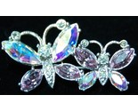 Butterfly Pair Aurora Borealis Crystal Stone Brooch